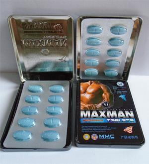 Thuốc cường dương Maxman đóng gói 1 hộp 1 vỉ 10 viên, giá 300.000đ