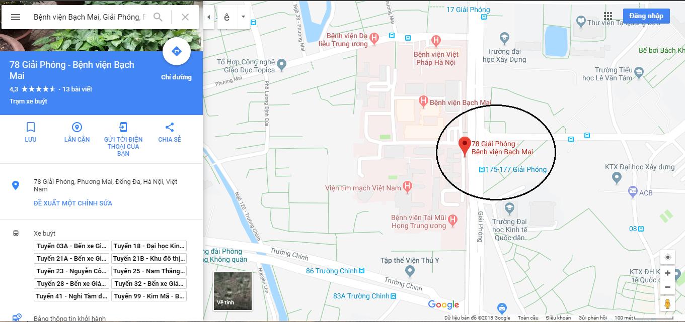 bệnh viện bạch mai google map bệnh viện bạch mai map