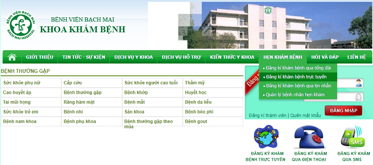 đăng ký khám bệnh ở bệnh viện Bạch mai