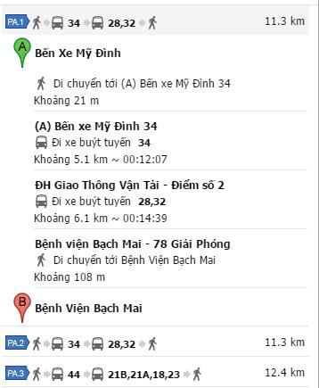 Cách đi xe bus từ bến xe Mỹ Đình đến Bệnh viện Bạch Mai